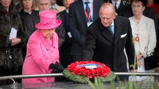 The Queen & Prince Philip lay a wreath on the Pals War Memorial, which commemorates railwaymen who died during the First World War