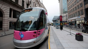 The Midland Metro tram after the visit.