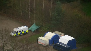 Forensic tents set up in the Sence Valley Forest park in Ibstock