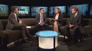 Paul Brand and guests (l-r):  Teesside Labour MP Tom Blenkinsop, Berwick Conservative Anne-Marie Trevelyan and Richard Arkless (SNP)