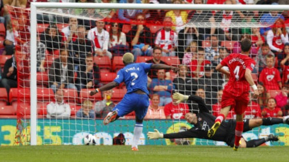Wigan's Aruna Kone scores during the Barclays Premier League match St Marys, Southampton.