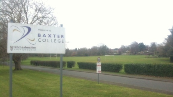 The sports pitch at the Baxter College in Kidderminster where the boy collapsed