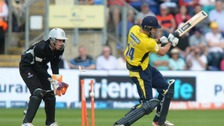 Hampshire's James Vince is bowled out buy Somerset's Max Waller