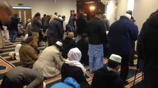 Prayers at Peterborough Mosque this afternoon.