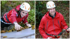 The Duchess of Cambridge abseiling.