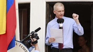 WikiLeaks founder Julian Assange speaks to the media outside the Ecuador embassy in west London