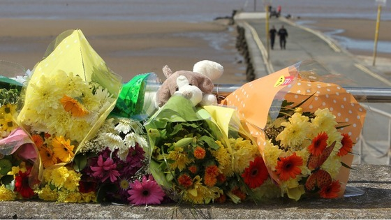 Floral tributes left at the scene in Burnham-on-Sea, Somerset