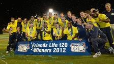 Hampshire's captain Dimitri Mascarenhas lifts the Trophy