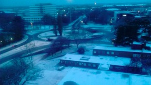 Snow covers the ground in Stevenage town centre earlier this morning.