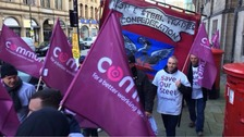 Steelworkers rally on the streets of Sheffield