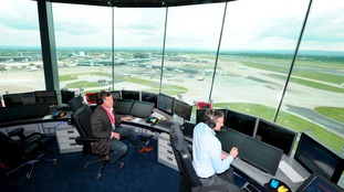 The control tower at Manchester Airport.
