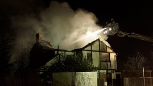 Firefighters tackling a blaze at the derelict Brickmakers' Arms public house on Woburn Road, Kempston.