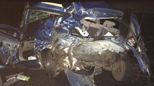 Miracle escape after car hit twice on motorway