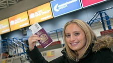 23 millionth passenger Lucy Chaplin arrived on Monday morning for her flight to Geneva