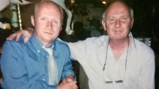 Liam Byrne pictured with his father Dermot Byrne.