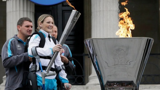 Claire Lomas lights the Paralympic flame cauldron