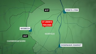 A man has been killed after his car crashed into a water-filled ditch at St John's Fen End near Wisbech.