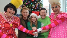 Coronation Street actors join the Ugly Sisters from Cinderella to switch on the Christmas lights at Royal Manchester Children's Hospital