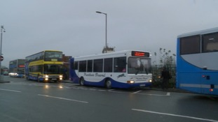 Buses replacing trains outside Witham station in Essex.