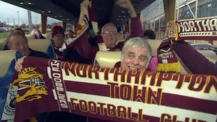 Northampton Town fans on the coach heading for Tuesday's match against Crawley.