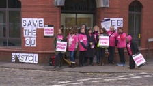 Staff from the Open University on the picket line in Bristol this morning