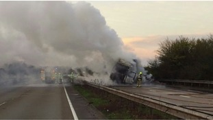 The lorry caught fire carrying wood on the A12.