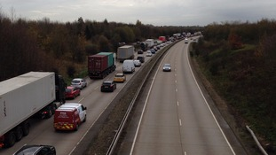 Tailbacks towards London on the A12 near Danbury.