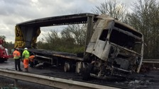 The remains of the lorry.