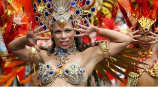 The Paraiso School of Samba take part in the Notting Hill Carnival, London.