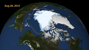 This visualization shows the extent of Arctic sea ice on Aug. 26, 2012