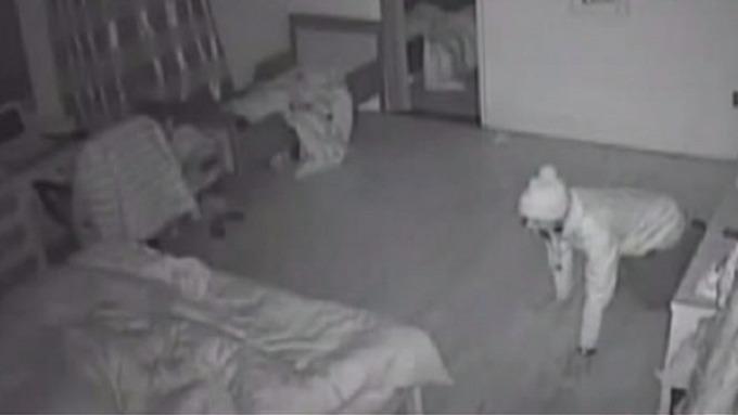 The Burglar Crawls On The Coupleu0027s Bedroom Floor As They Sleep.