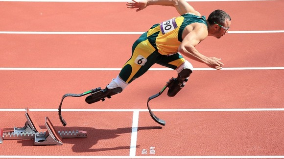 Oscar Pistorius in the Men's 400m Heats during day eight of the London Olympic Games