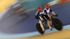 Lora Turnham and Fiona Duncan (front) during the training session at the Velodrome in the Olympic Park