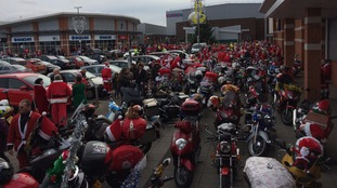 Santa bikers about to set off.