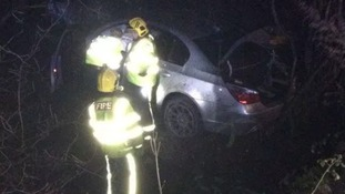 Two men have been lucky to avoid serious injuries after their car ended up in a ditch