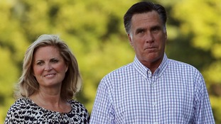 Republican presidential candidate and former Massachusetts Governor Mitt Romney and his wife Ann