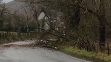 Debris on the B5322 near Threlkeld