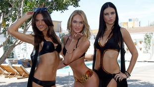 (L-R) Models Alessandra Ambrosio, Candice Swanepoel and Adriana Lima