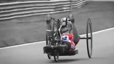 A Team GB hand cyclist trains at Brands Hatch