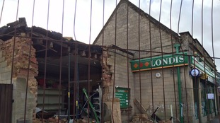 The Londis store in Corby that's been badly damaged by ram-raiders