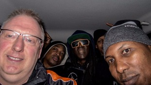 Hip Hop stars Public Enemy arrive at gig in fan's Ford Focus