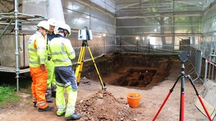 Surveys are undertaken at the dig site in Hull