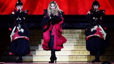 Cheers for Madonna as she returns to cape tumble stage.