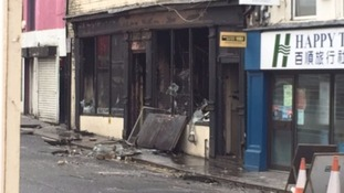 Pictures show the damaged building after the blaze
