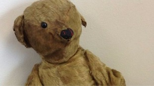 Looking young for his years... 100-year-old teddy up for auction today.