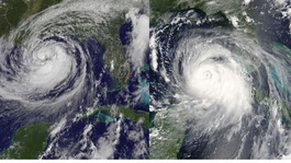 Hurricane on the left with Hurricane Katrina on the right