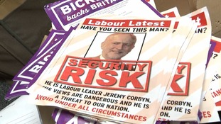A leaflet handed out by Ukip campaigners describes Corbyn as a 'security risk'.
