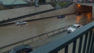 The burst water pipe helped cause traffic chaos in Plymouth.