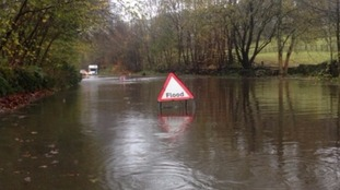 A595 closed due to flooding
