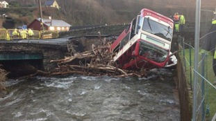 The bus ended up in the river